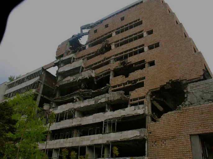 bombed nato building in belgrade, serbia