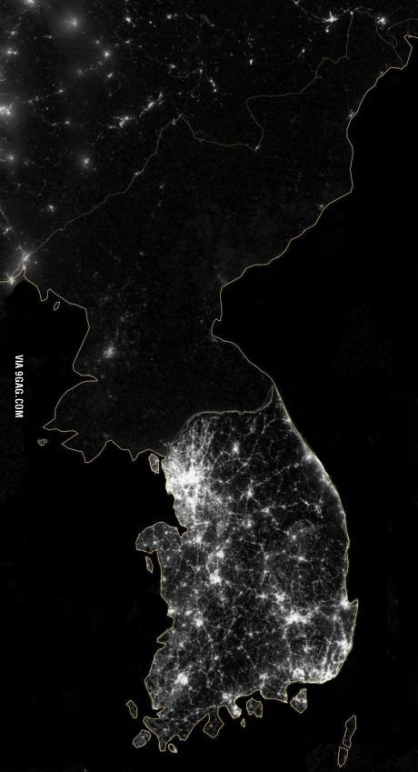 North Korea from a satellite
