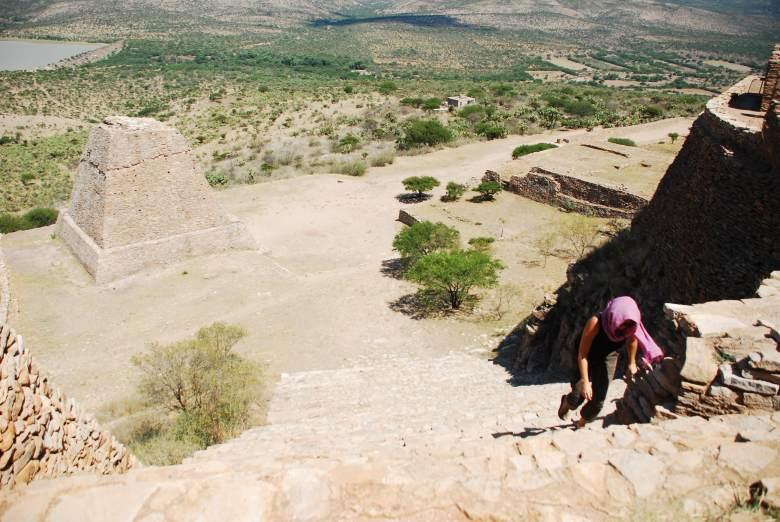 Very steep stairs La Quemada
